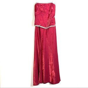 Faviana red two piece formal dress w/ rhinestones